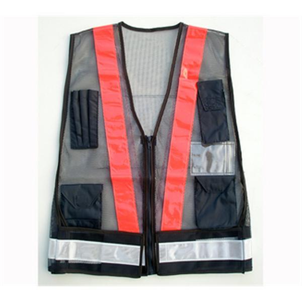 日式多口袋-網布深藍/反光條上橘下白-晶順工業有限公司