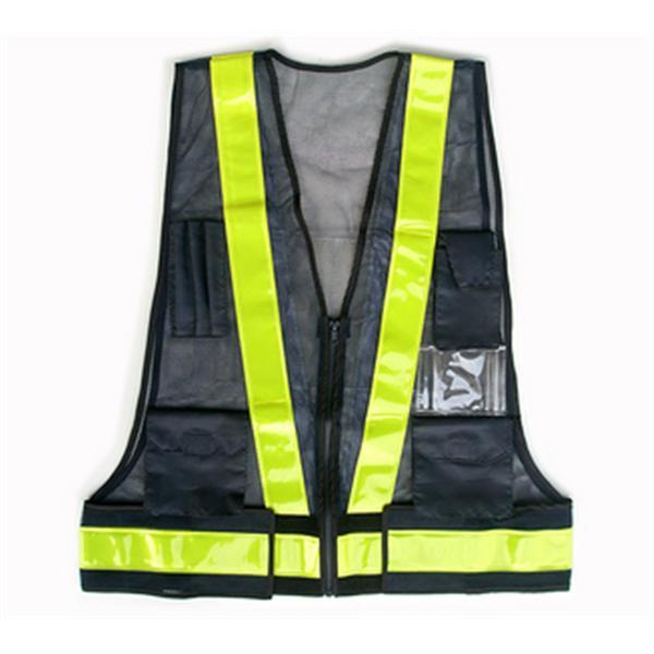日式多口袋背心-網布深藍/反光條黃-晶順工業有限公司