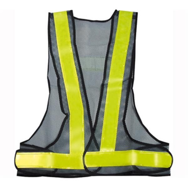 日式V型背心-網布深藍/反光條黃-晶順工業有限公司