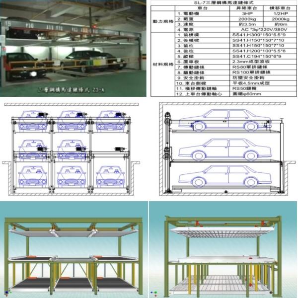 SL-7 三層鋼構馬達鏈條式-碩立停車設備股份有限公司
