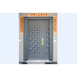木編瓦鑄鋁子母大門+無軌摺疊紗門